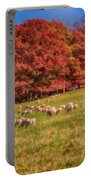Sheep In The Autumn Meadow Portable Battery Charger