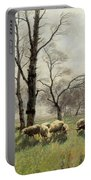 Shepherd With His Flock In The Evening Light Portable Battery Charger