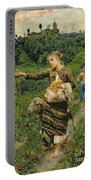 Shepherdess Carrying A Bunch Of Grapes Portable Battery Charger