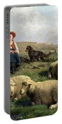 Shepherdess With Sheep In A Landscape Portable Battery Charger