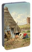 Shepherds Resting In The Roman Campagna Portable Battery Charger