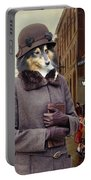 Shetland Sheepdog Art Canvas Print - Charleston Blue Portable Battery Charger