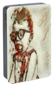 Shocked Scared Screaming Boy With Curly Red Hair In Glasses And Overalls In Acrylic Paint As A Loose Portable Battery Charger