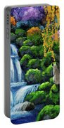 Siamese Cat By A Cascading Waterfall Portable Battery Charger