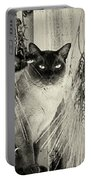 Siamese Cat Posing In Black And White Portable Battery Charger