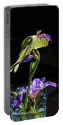 Siberian Iris And Luna Moth Portable Battery Charger