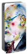 Sigmund Freud - Watercolor Portrait.3 Portable Battery Charger
