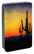Sihouette Sunrise In The Sonoran Portable Battery Charger