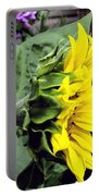 Silhouette Of A Sunflower Portable Battery Charger