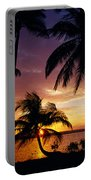 Silhouette Of Palm Tree On The Coast Portable Battery Charger