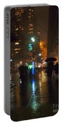 Silhouettes In The Rain - Umbrellas On 42nd Portable Battery Charger