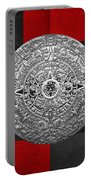 Silver Mayan-aztec Calendar On Black And Red Leather Portable Battery Charger