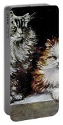 Silver Orange And White Persians Portable Battery Charger