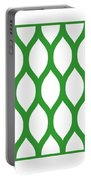 Simplified Latticework With Border In Dublin Green Portable Battery Charger