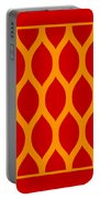 Simplified Latticework With Border In Tangerine Portable Battery Charger