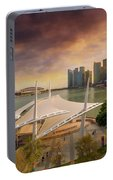Singapore City Skyline By Marina Bay Sunset Portable Battery Charger