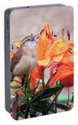 Singing Wren In The Lilies Portable Battery Charger