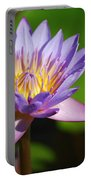 Single Purple Water Lily Number One Portable Battery Charger