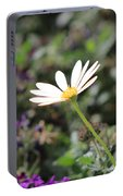 Single White Daisy On Purple Portable Battery Charger