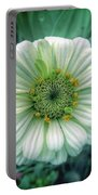 Single White Zinnia  Portable Battery Charger