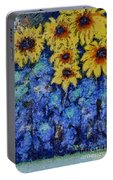 Six Sunflowers On Blue Portable Battery Charger