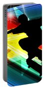 Skateboarder In Criss Cross Lightning Portable Battery Charger by Elaine Plesser