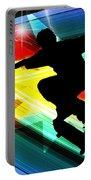Skateboarder In Criss Cross Lightning Portable Battery Charger by Elaine Plesser