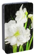 Sketchy White Amaryllis  Portable Battery Charger