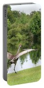 Skipping Sandhill Crane By Pond Portable Battery Charger