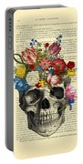 Skull With Flowers Vintage Illustration Portable Battery Charger