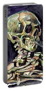 Skull Of A Skeleton With Burning Cigarette Portable Battery Charger