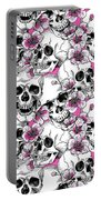Skulls And Red Flowers Portable Battery Charger