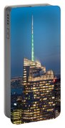 Skyscraper Lit Up At Night, One World Portable Battery Charger