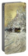 Sleigh Ride In Central Park Portable Battery Charger by Childe Hassam