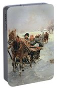 Sleighs In A Winter Landscape Portable Battery Charger
