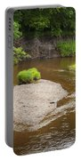 Slow River In Deep Forest Landscape Portable Battery Charger