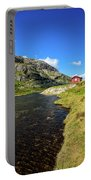 Small Red Cabin In Norway Portable Battery Charger
