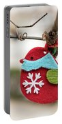 Small Red Handicraft Bird Hanging On A Wire Portable Battery Charger