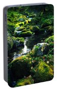 Small Stream In Green Forest Lapland Portable Battery Charger