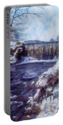 Small Stream, Snowy Scene And Waterfalls. Portable Battery Charger