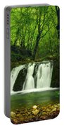 Small Waterfall In Forest Portable Battery Charger