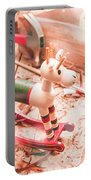 Small Xmas Reindeer On Wood Shavings In Workshop Portable Battery Charger