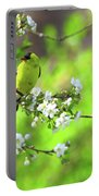 Smelling The Cherry Blossom Male  American Goldfinch Portable Battery Charger
