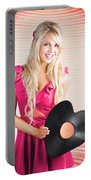 Smiling Dj Woman In Love With Retro Music Portable Battery Charger