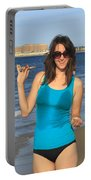 Smiling Hottie At The Beach Portable Battery Charger