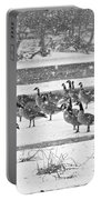 Snow And Geese On The River II Portable Battery Charger