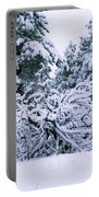 Snow Burdened Tree In The Flatirons Portable Battery Charger