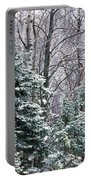 Snow-covered Forest, Wisconsin, Usa Portable Battery Charger