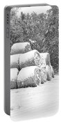 Snow Covered Hay Bales Portable Battery Charger