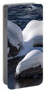 Snow Covered River Rocks Portable Battery Charger
